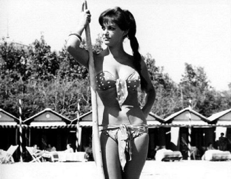 Claudia Cardinale at the beach