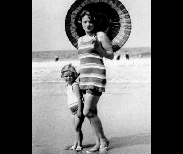 Marlene Dietrich at the beach