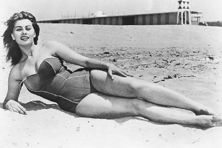 Sophia Loren on the beach